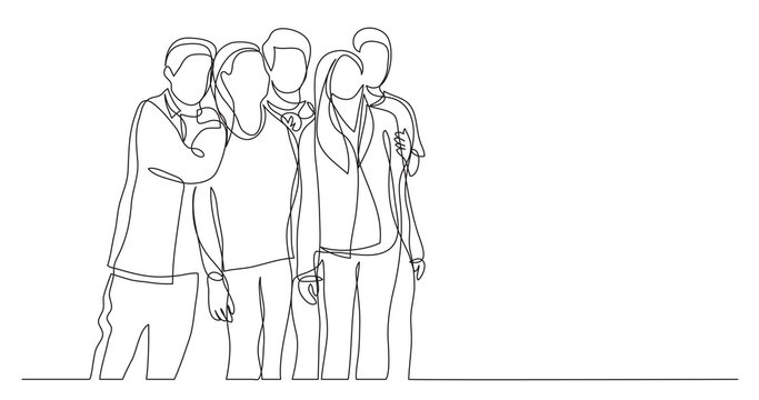 group of friends teenagers standing together - one line drawing