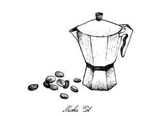 Illustration Hand Drawn Sketch of Coffee Beans with Moka Pot, A Coffee Maker or Italian Traditional Coffeemaker.