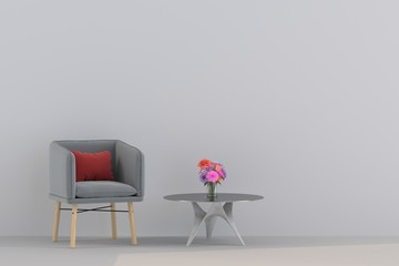 modern sofa in  living room. Minimal style concept. pastel color style. 3D render