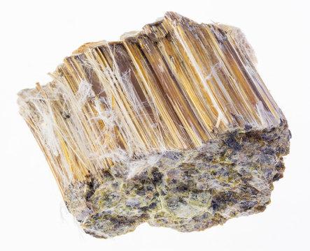 raw brown Asbestos stone on white