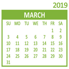 March. Third page of set. Calendar 2019, template. Week starts from Sunday. Vector illustration