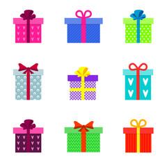 Set of stylish flat colorful gift boxes