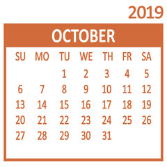 October. Tenth page of set. Calendar 2019, template. Week starts from Sunday. Vector illustration