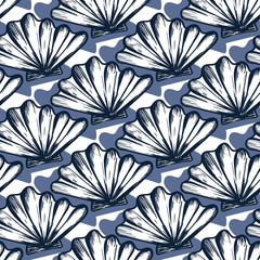Vector seamless nautical pattern with hand drawn striped shells