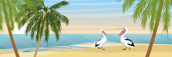 Two Australian pelicans on a tropical beach with sand and palm trees. Sea or ocean coast. Wild birds of Australia, New Guinea and Indonesia. Realistic Vector Landscape