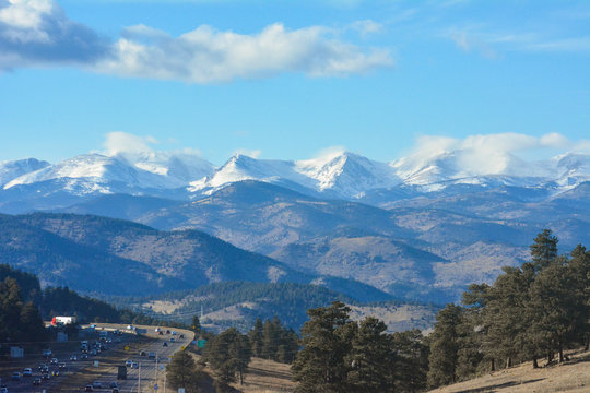 View of the Rocky Mountains surrounding Denver, Colorado.
