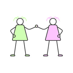Two women hold hands. Cartoon illustration of female friendship. Vector on white background.