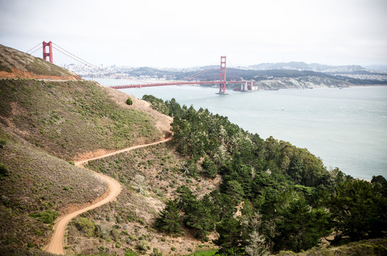 Wide angle view of the Golden Gate Bridge in San Francisco as seen from the Marin Headlands