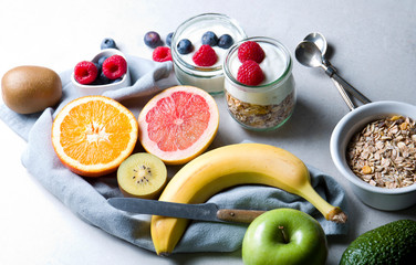 Healthy eating. Composition of fresh fruit with natural yoghurt.