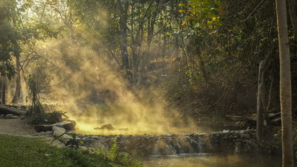 Keuken foto achterwand Bos in mist view morning of hot water flowing with streaming around with forest and sun light background, Tha Pai Hot Spring or Pong Nam Ron Tha Pai, Pai District, Mae Hong Son, northern of Thailand.