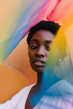 Close up of woman with colorful tulle