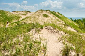 Sleeping Bear Dunes National Lake Shore, Michigan: Hiking along the Pyramid Point trail.