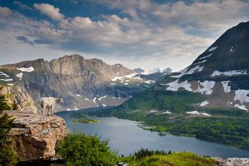 Mountain view and Hidden Lake along Hidden Lake Trail, Glacier National Park, Montana