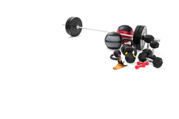 Sports equipment on a white background