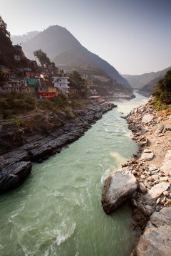 Devprayag, India: The Bhagirathi River which becomes the Ganges River.