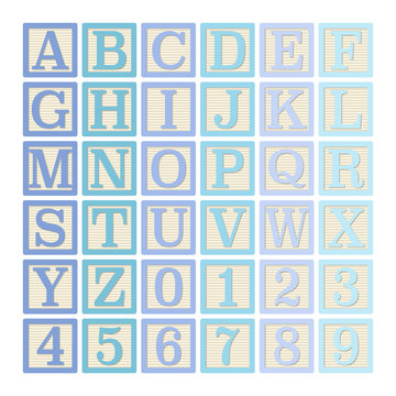 Blue Alphabet Blocks - Complete set of 26 letter blocks (A through Z) and 10 number blocks (0 through 9)