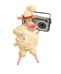 Fun cartoon sheeps. Retro tape recorder. Isolated on white background. - Illustration