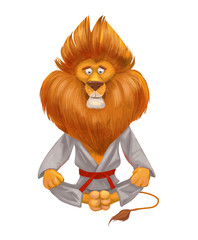 Lion sits in the lotus position. Meditation, concentration, relaxation