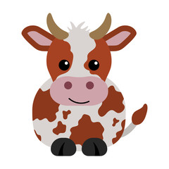 Orange and White Cow - Cartoon orange and white cow with horns
