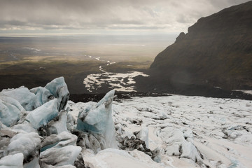 Falljˆkull glacier (Falling Glacier) - part of the Vantajokull Glacier in Vantajokull National Park, Iceland.