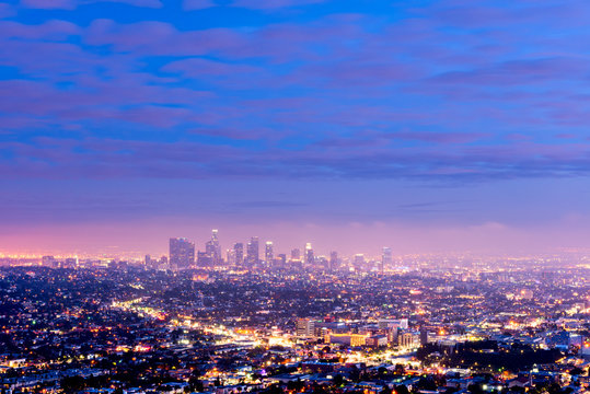 Downtown Los Angeles California from Griffith Observatory at dusk.