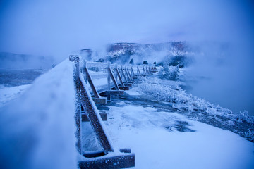 Scenic winter image of Bisquit Basin in Yellowstone National Park, WY.
