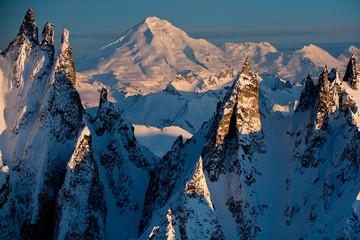 LAKE CLARK NATIONAL PARK, ALASKA: Aerial views of the Aleutian Mountain Range and Chigmit Mountains.