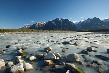 Tashenshini River in Yukon, CA, which empties into Glacier Bay National Park in Alaska, US.