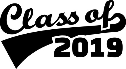 Class of 2019 words with retro style red