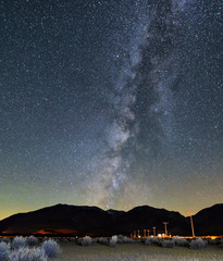 The milky way and stars over Hwy 395 near Lee Vining and Mono Lake, CA.