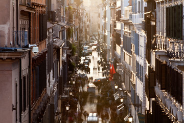 Rome, Italy: A street scene in historic Rome near the famous Piazza Di Espagna or Steps of Rome.