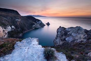 Santa Cruz Island, Channel Islands National Park, California: Sunset on Potato Harbor.