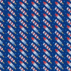 Popsicles Seamless Pattern - Red, white, and blue popsicles with blue stars on dark blue background