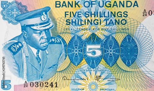 Idi Amin Dada on Ugandan 5 shilling banknote, Uganda money currency