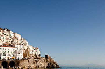 Amalfi, Italy: View of the cliffside homes and village.