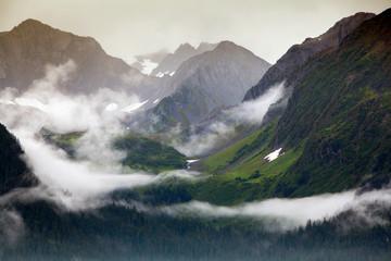 Resurrection Bay, Alaska: Scenic views of the mountains as seen from a cruise ship.