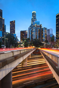 Downtown Los Angeles at dusk as seen from the 4th street overpass overlooking the 101 freeway.