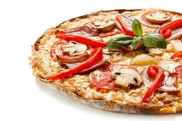 Pizza with bacon and champignon on white background