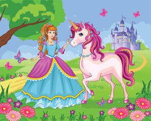 Beautiful princess and white unicorn on the background of the palace. Wonderland. Flower meadow. Children's illustration. Vector.