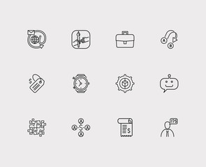 Customer service icons set. Team and customer service icons with client, bot and model. Set of corporate for web app logo UI design.