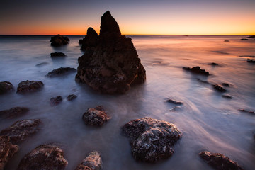 El Matador Beach, Malibu, at sunset just off the Pacific Coast Highway in California