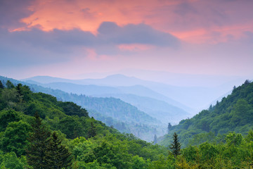 Sunrise in the Smoky Mountains, from Smoky Mountain National Park in North Carolina.