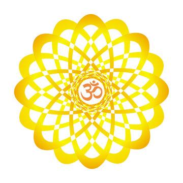 Colorful mandala with Aum / Om  / Ohm sign. orange, yellow  colors. Spiritual symbol. Vector graphics