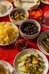 Medietteranean breakfast table setting.