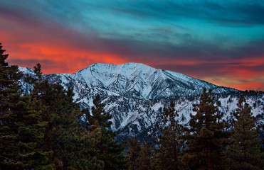 Mt. Baldy during a winter sunrise as seen from Inspiration Point along the Pacific Crest Trail in the Angeles National Forest CA.