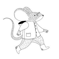 Vector illustration about mouse in a coat and boots jumps or runs