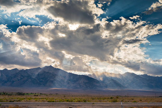 Clouds and light beams over Mt. Williamson along Hwy 395 north of Lone Pine, CA.