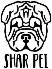 Shar Pei head black and white