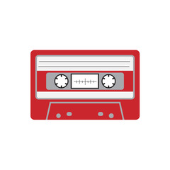 Cassette tape flat icon vector design illustration