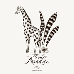 Natural vector Exotic Tropical template with leaves and giraffe